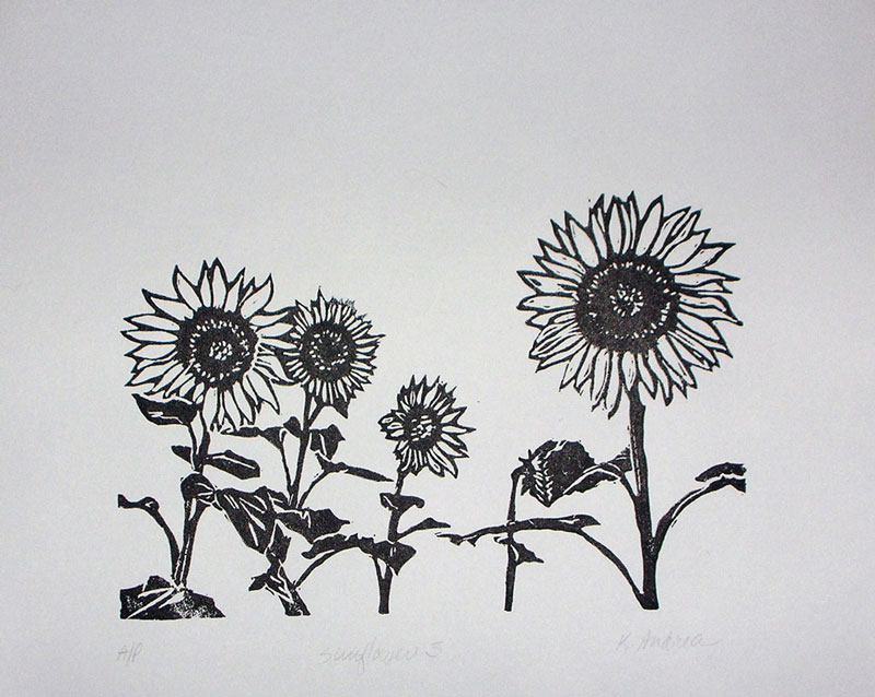 """Five Sunflowers"""